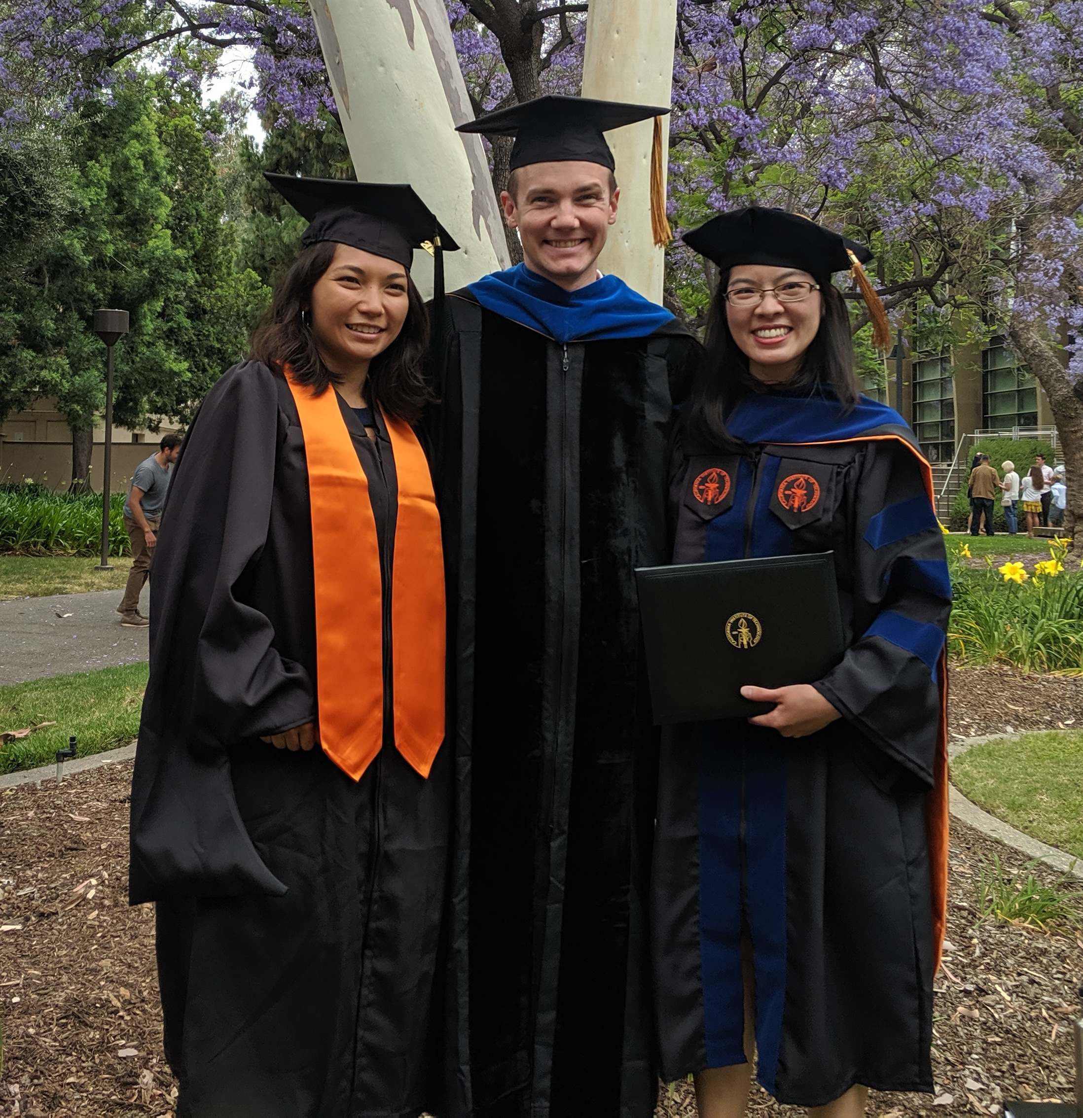 Mia, Evan, and Nicha at Caltech Commencement 2019